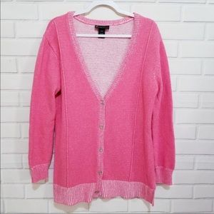 Lane Bryant Button Front Pink Knit Cardigan